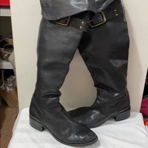 Ladies black leather knee high boots